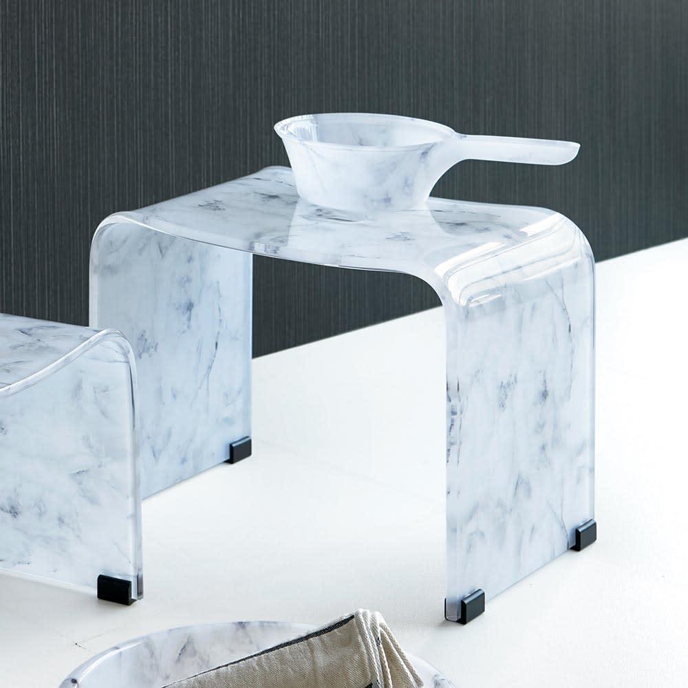 М(マーブル調バスチェア) ホワイト*グレー/イエロー*ベージュ バスチェア・風呂いす