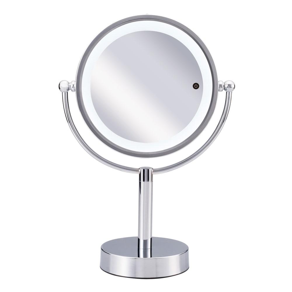 3色調光LED照明付き拡大鏡 小型 (ライト付き 卓上ミラー) LEDライト付きの便利な化粧鏡