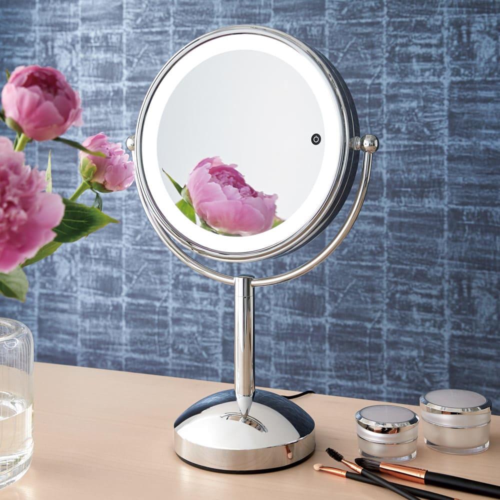 3色調光 LED照明付き 拡大鏡 大型 (ライト付き 卓上ミラー) シルバー スタンドミラー・姿見鏡・壁掛け鏡