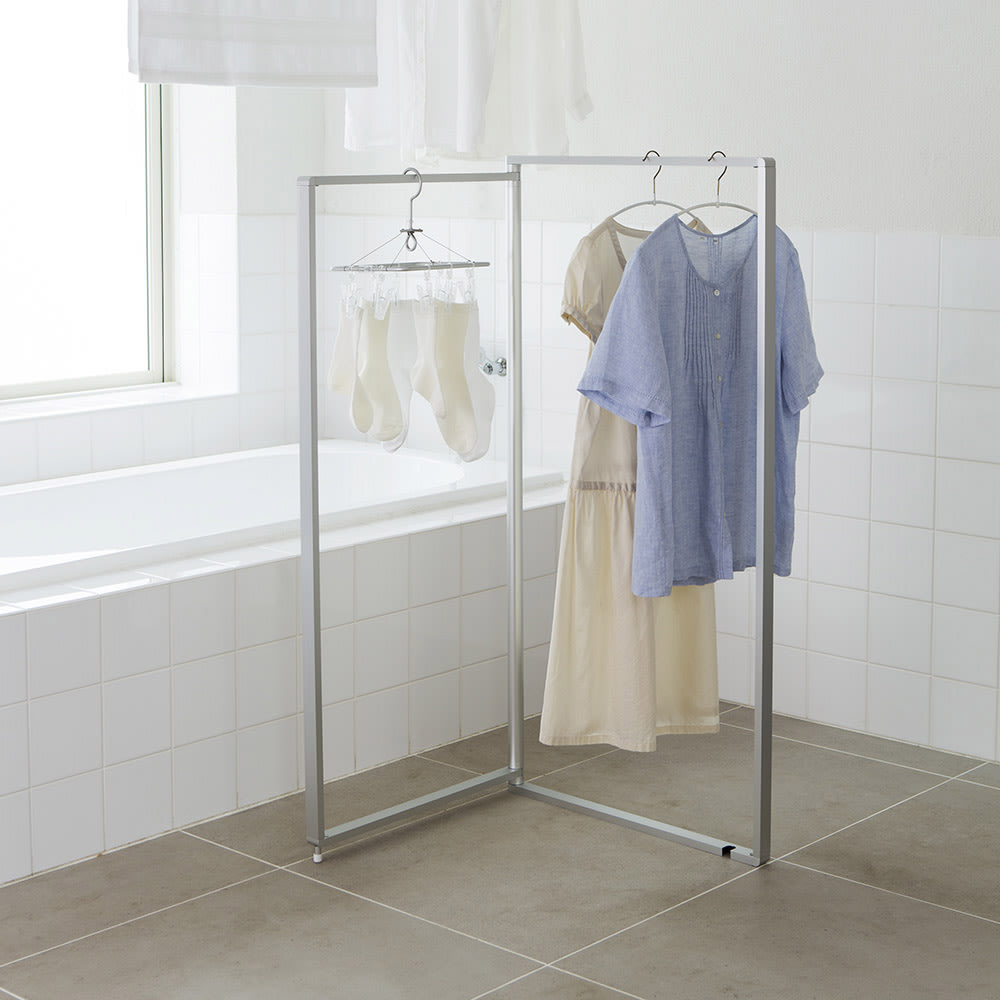 アルミ製 薄型ランドリースタンド 2連 (室内 屏風型物干し) シルバー 物干し台・洗濯ハンガー