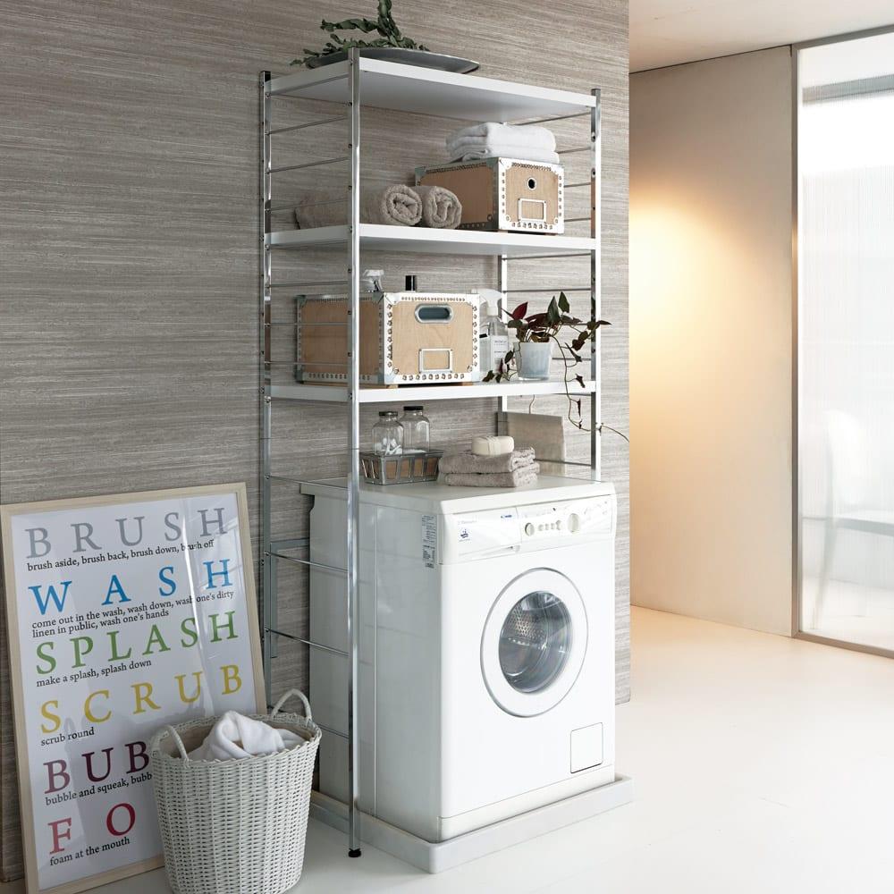 モダンランドリーラック 棚3段 ホワイト 洗濯機上の空間を有効活用して収納を増やせます。清潔感のあるモダンなランドリー空間が演出できます。