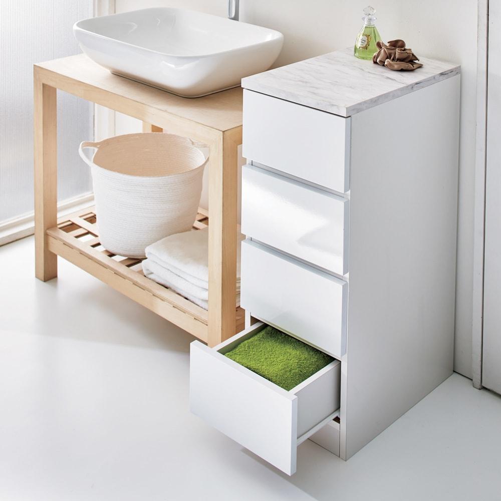 Marblenome/マーブルノーム サニタリーチェスト 幅30奥行45cm (ア)ホワイト。洗面台脇のすき間収納としてもおすすめのサイズです