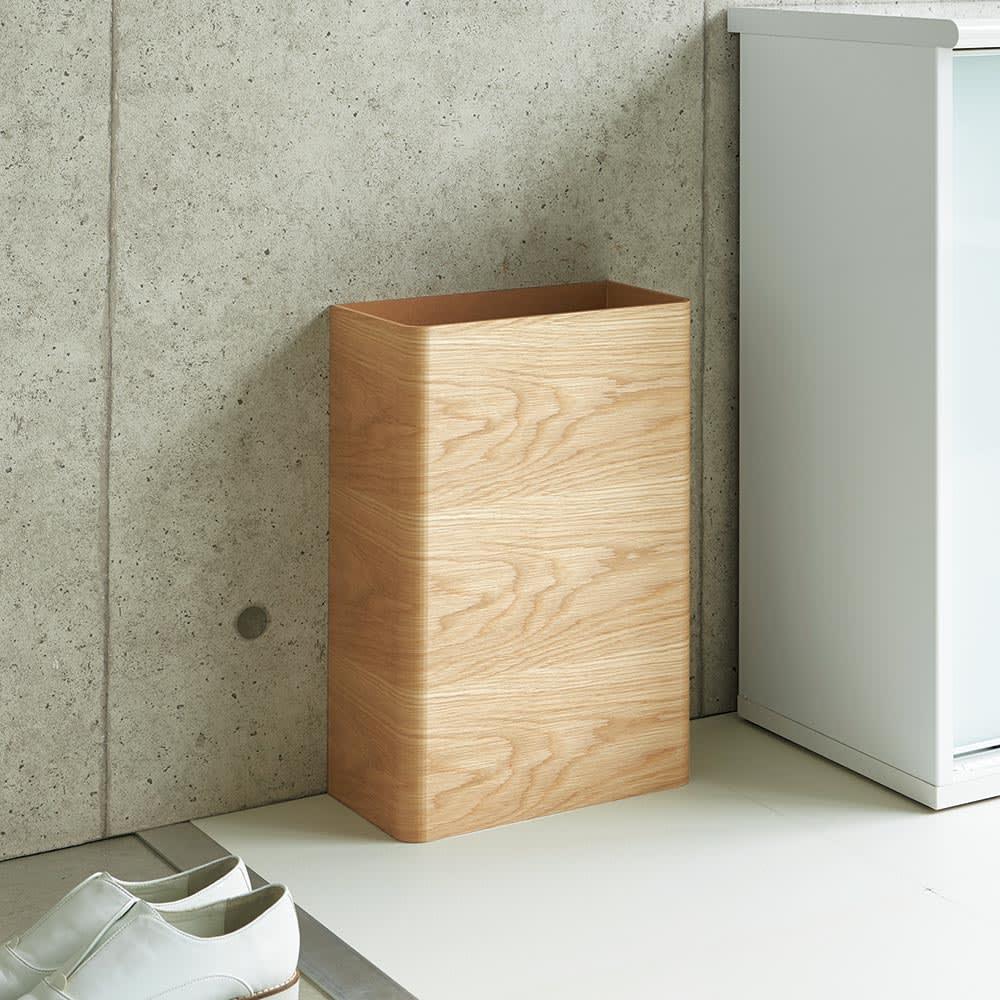 曲木の薄型ダストボックス ロー ダークブラウン/ナチュラル ゴミ箱・ダストボックス