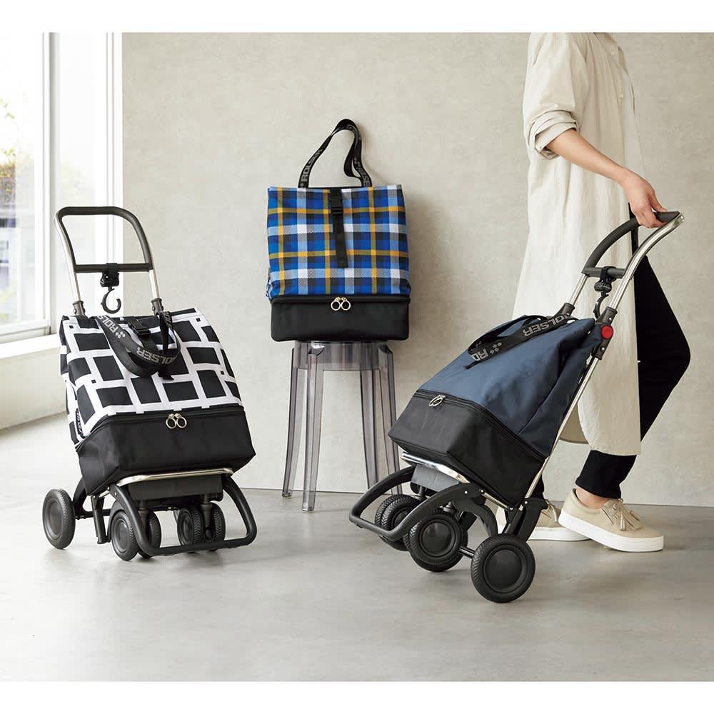 ROLSER/ロルサー ショッピングカート 4輪カート+保冷・保温付きバッグ ネイビー/ジオメトリック/スコティッシュブルー ショッピングカート・キャリーカート