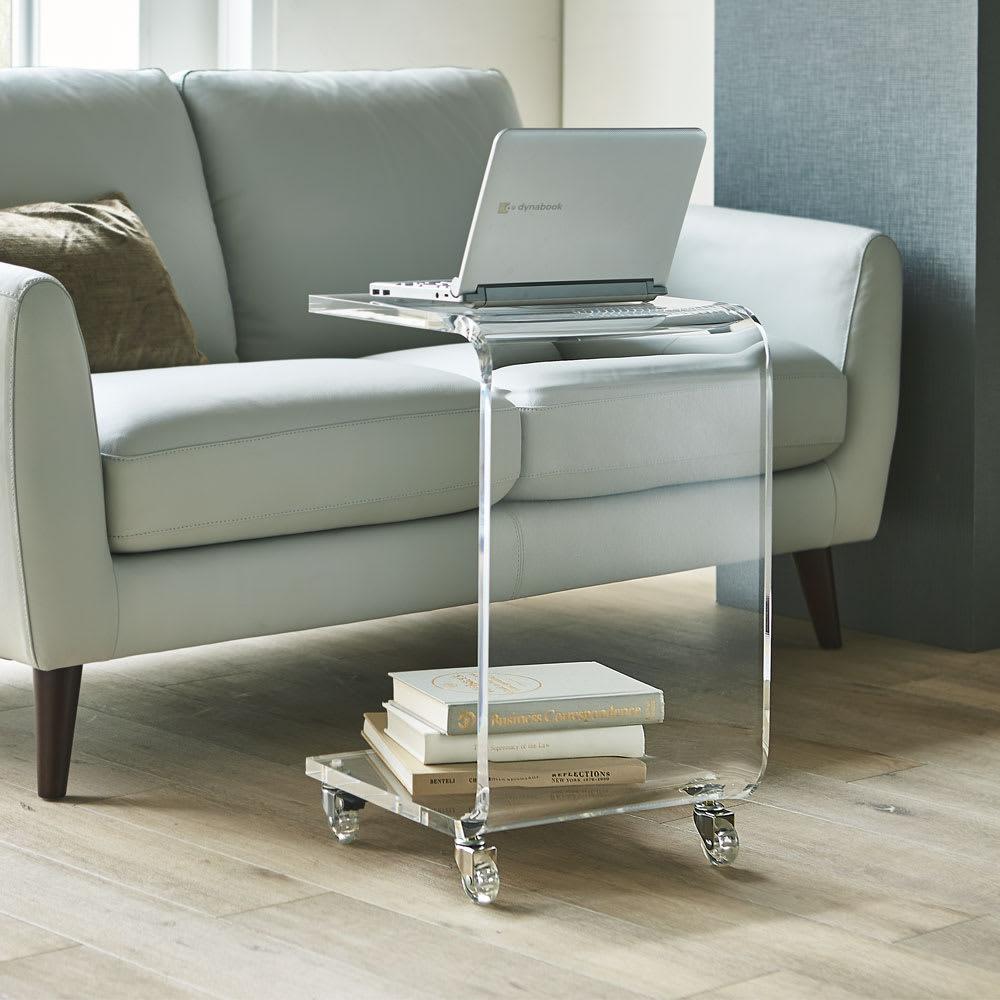 Gel/ジェル アクリルキャスター付きサイドテーブル 幅35cm高さ58.5cm コーディネート例