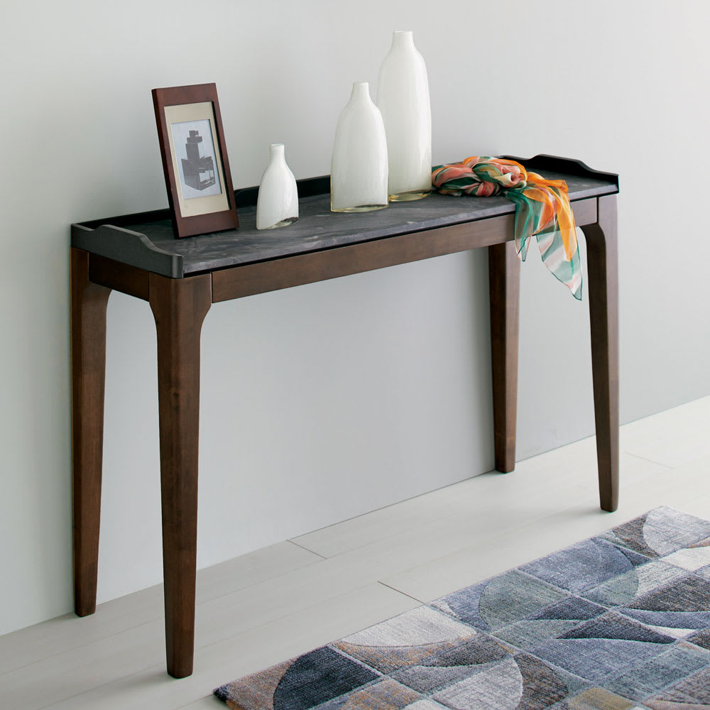 Elusso/エルーソ 石目調天板コンソール・ミニテーブルシリーズ すらりとした木製の脚と、石材をリアルに表現した異素材ミックスが美しいミニテーブルシリーズです。