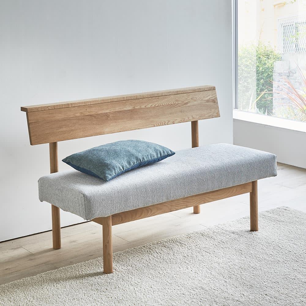 家具 収納 イス チェア ベンチ NORD/ノルド 背付きベンチ幅120 オーク H86020