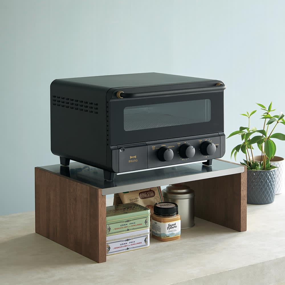家具 収納 キッチン収納 食器棚 レンジ台 レンジラック キッチンラック ラバーウッド ステンレス天板トースターラック H86507