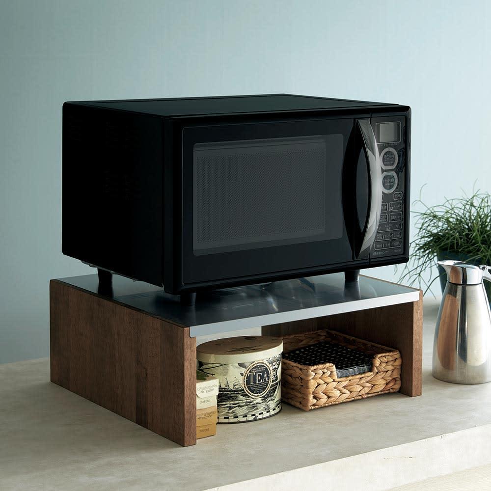 家具 収納 キッチン収納 食器棚 レンジ台 レンジラック キッチンラック ラバーウッド ステンレス天板レンジラック H86508