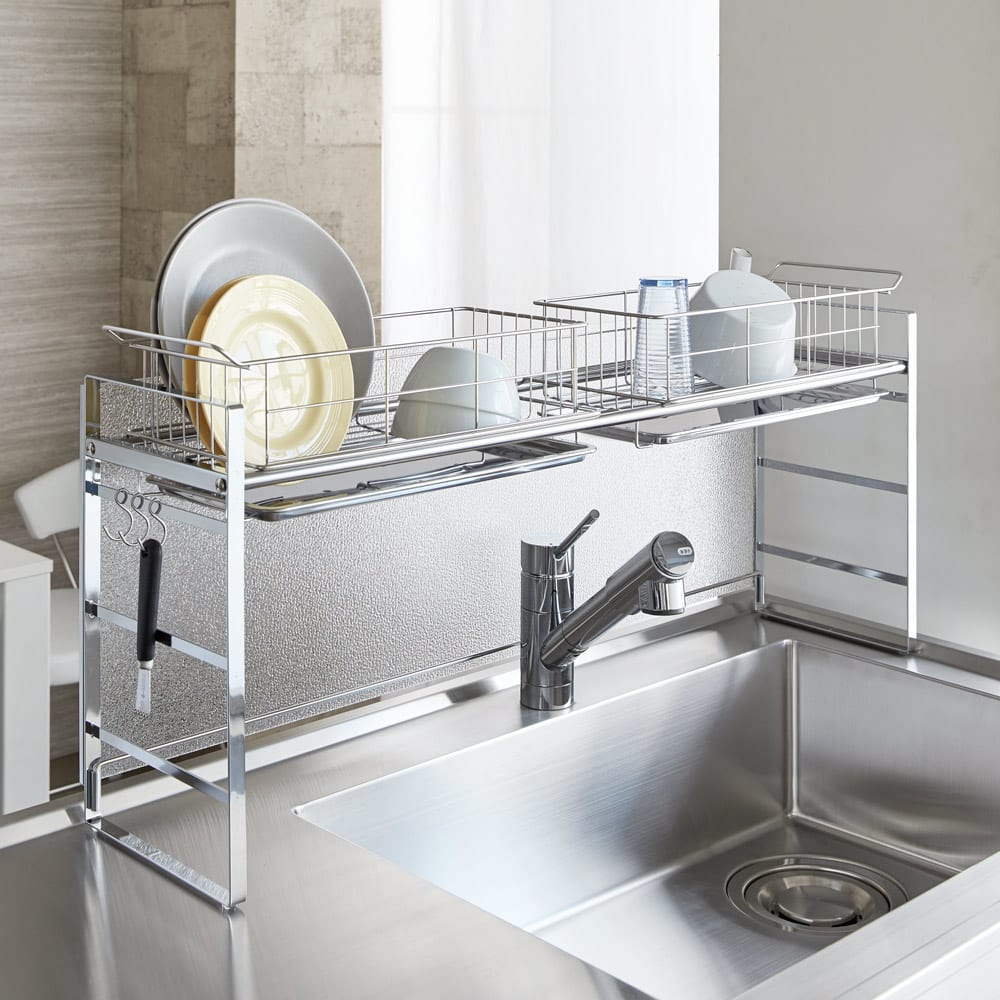 キッチン 家電 キッチン収納 水切り 水切りかご ラック シンク上目隠し水切りラック H86612