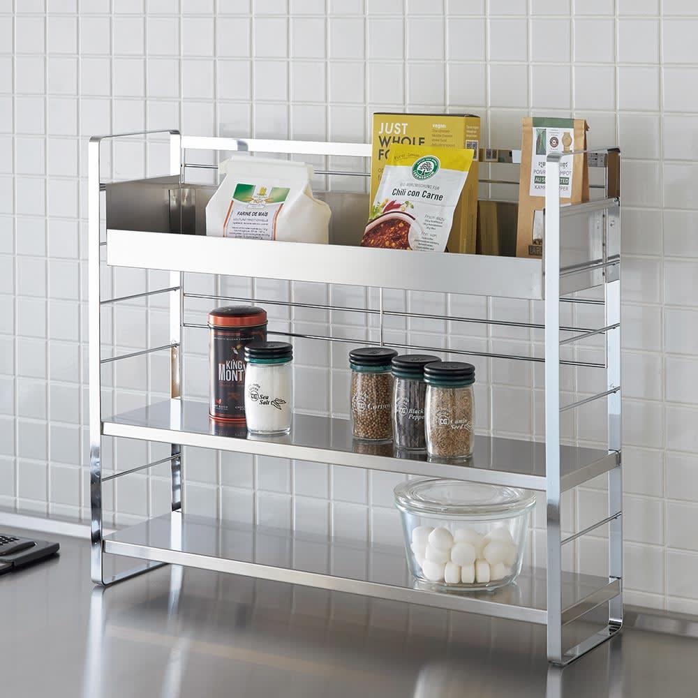 キッチン 家電 キッチン収納 水切り スパイスラック 調味料ラック ステンレス棚スパイスラック ボックス H86707