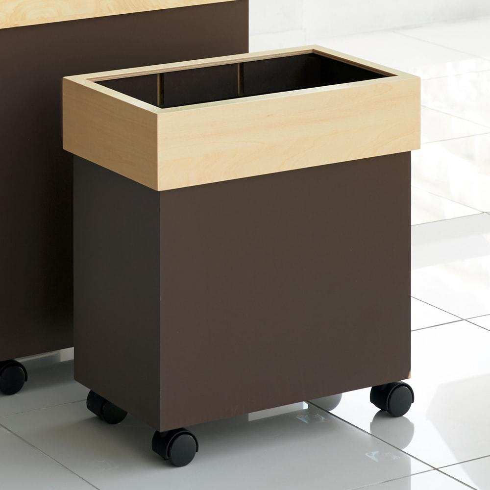 HOUSE STYLING/ハウススタイリング Hanger/ハンガー キャスター付きダストボックス 30L  ホワイト/ブラウン キッチン用ゴミ箱