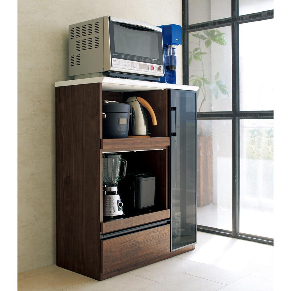 Torerant/トレラント コンパクトレンジカウンター 幅89.5cm・家電収納2段(高さ115cm) ハイスペックなシステムキッチンにもしっくりなじむハイスペックなキッチン収納庫。だんだん増えてきた時短家電をまとめて収納できます。