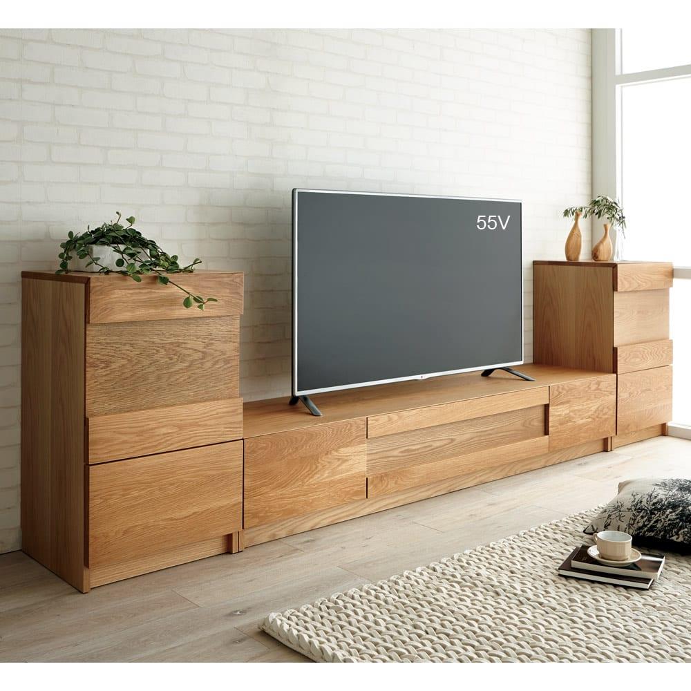 Grosse(グロッセ) 隠しガラステレビ台シリーズ レッドオーク テレビ台 幅200cm [コーディネート例]※お届けはテレビ台 幅200cmタイプです。