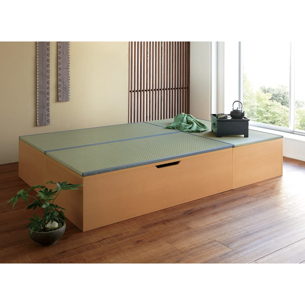 美草跳ね上げ式ユニット畳 畳単品 高さ45cm 大容量 1畳 大容量 高さ45cmタイプ(ナチュラル×ライトグリーン)