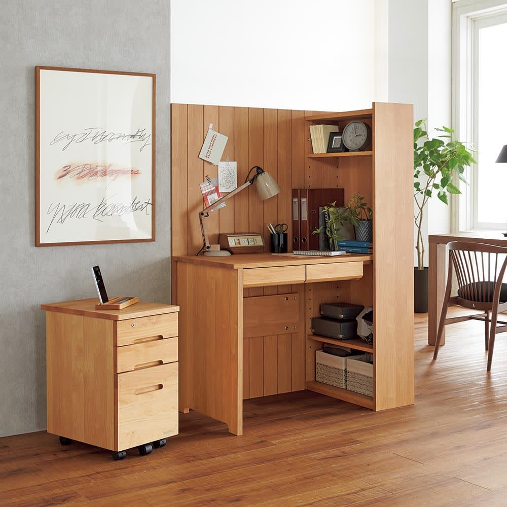 家具 収納 ホームオフィス家具 パソコンデスク Epel/エペル アルダー天然木 間仕切りデスク H89224