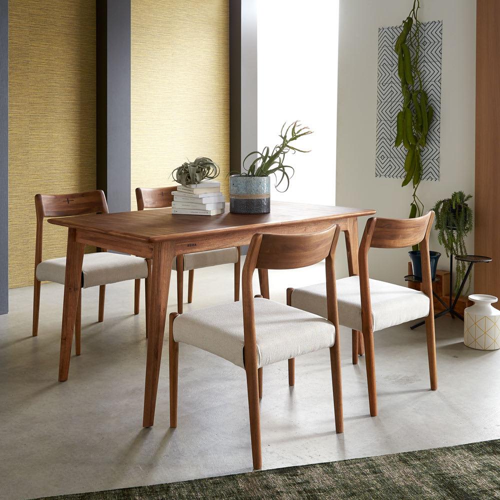 EDDA/エッダ 北欧スタイル伸長式ダイニングセット テーブル&チェア 5点セット テーブル通常時