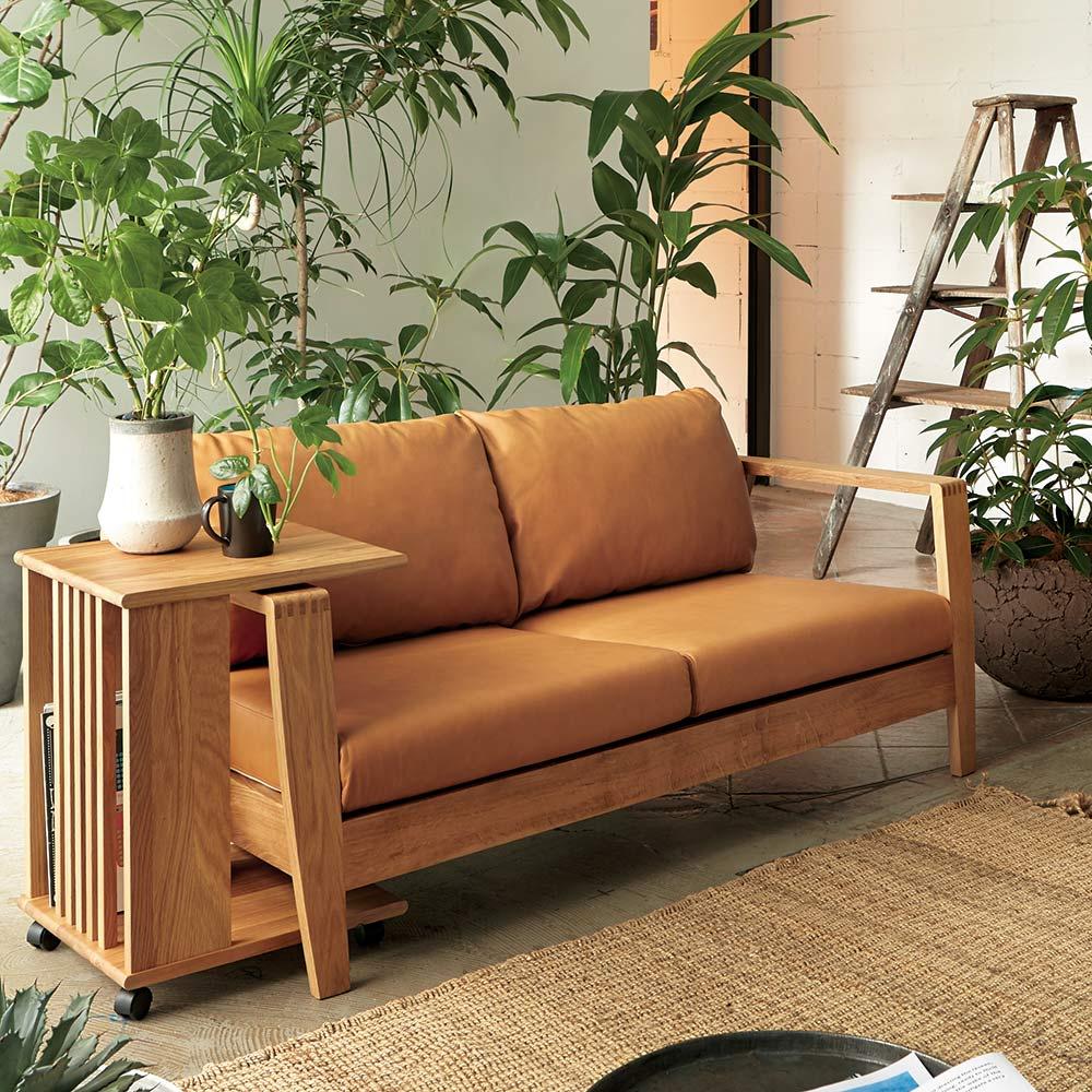 Green/グリーン オーク天然木 木フレームレザーソファ ラブ・2人掛けソファ 幅158cm 人気のオーク天然木無垢材を贅沢に使用したラグジュアリーなソファ