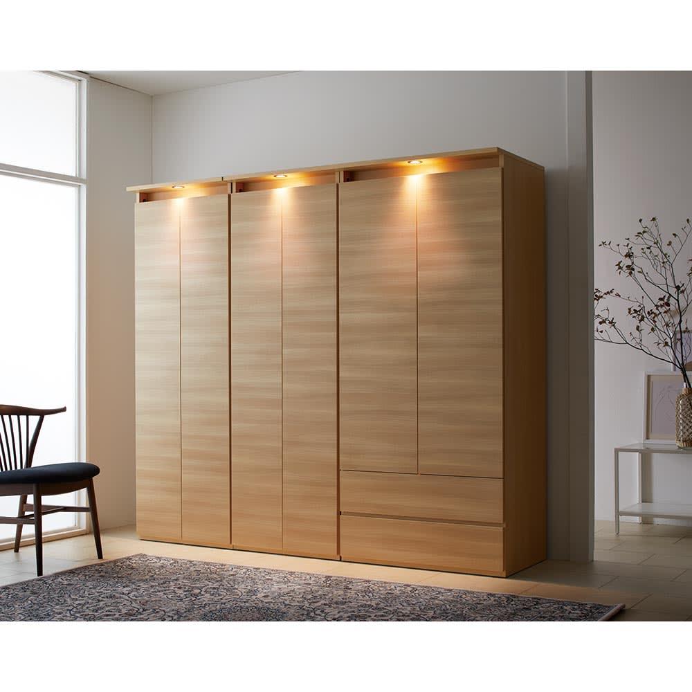 家具 収納 衣類収納 ワードローブ クローゼット klaren/クラーレン LED付きギャラリー クローゼット ハンガー2段 幅80.5cm H91805