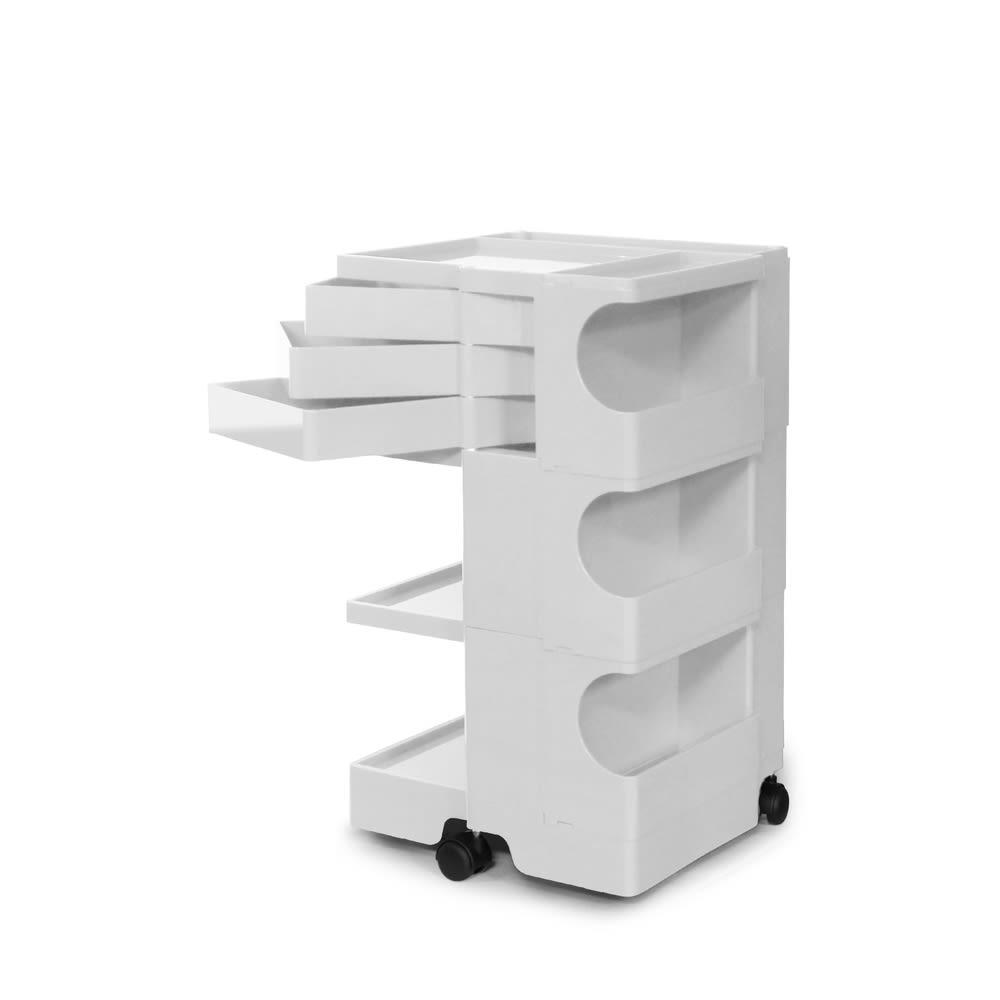Boby Wagon/ボビーワゴン ホワイト・ブラックタイプ[B-LINE・ビーライン/デザイン:ジョエ・コロンボ] 3段3トレイ・ホワイト