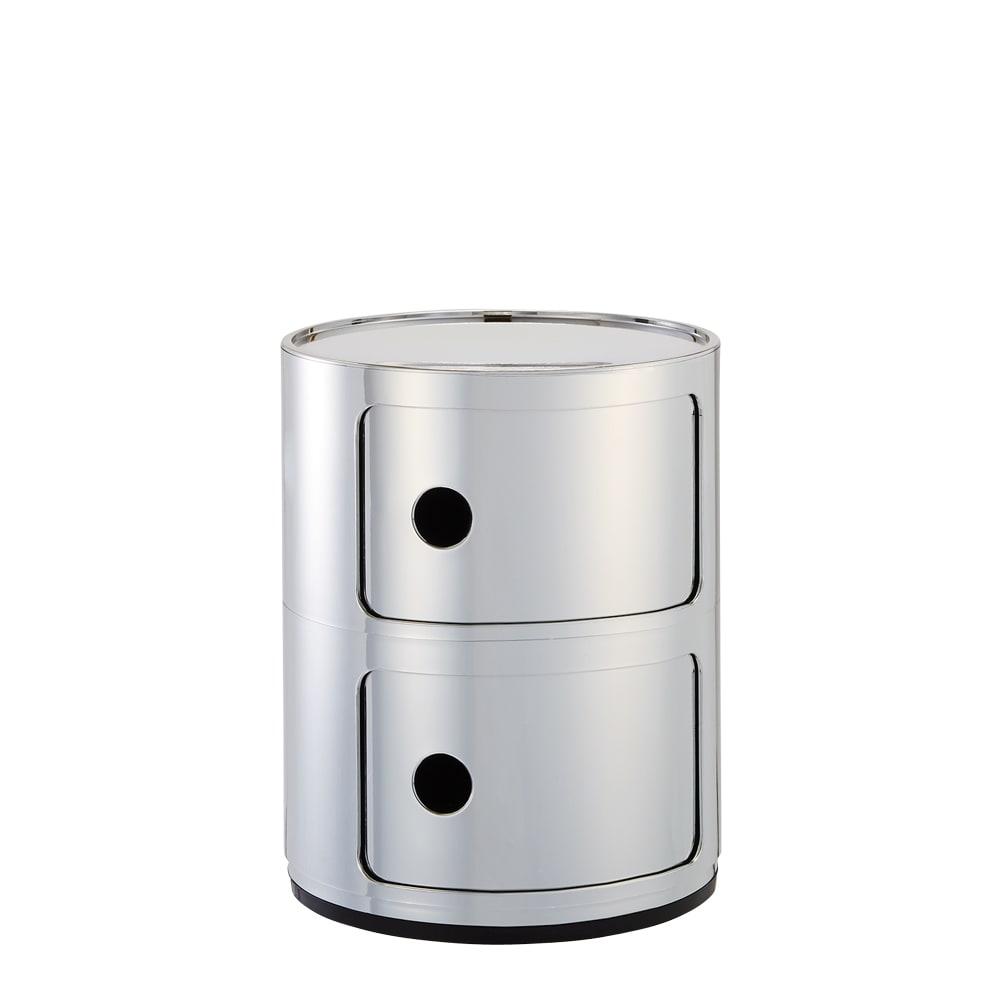 3段・高さ58.5cm(Componibili/コンポニビリ ストレージ メタル [Kartell・カルテル/デザイン:アンナ・カステリ・フェリエーリ]) クローム(2段)。ミラーのような光沢の銀色で、スタイリングをクールに。