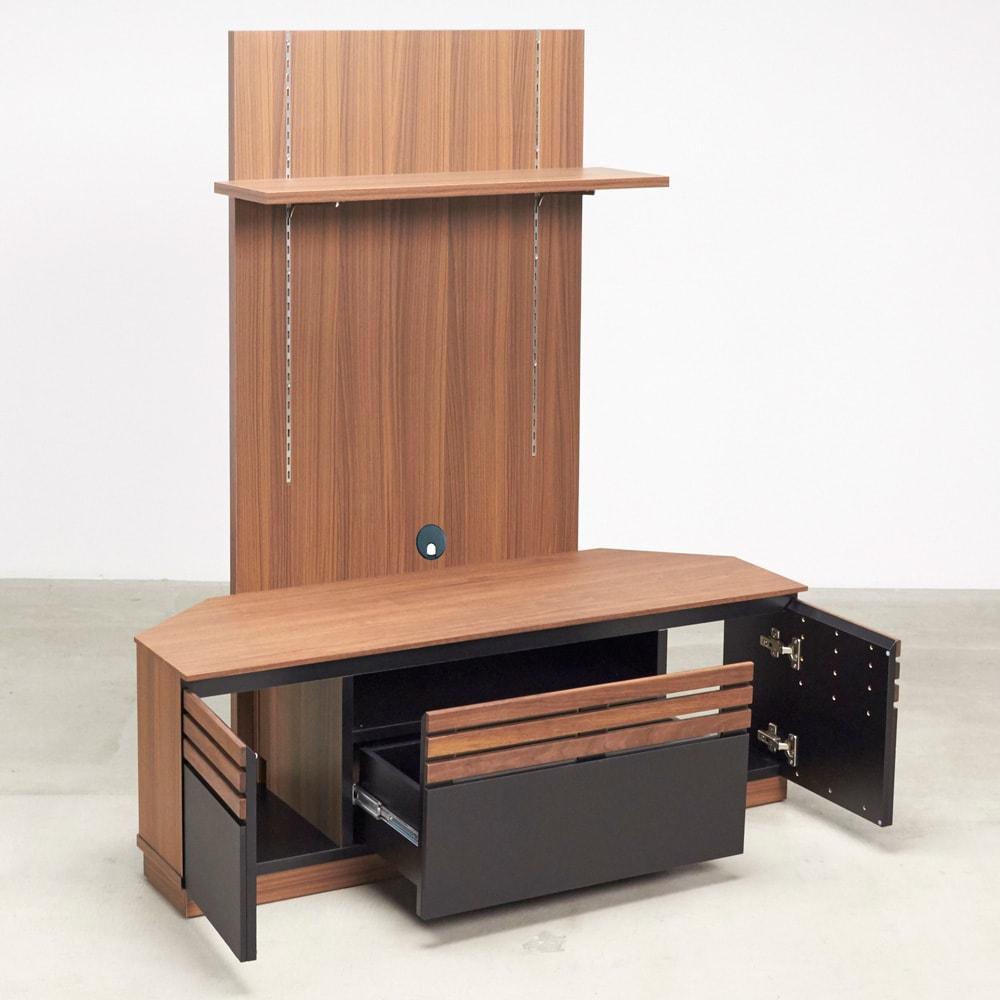 AlusStyle/アルススタイル  リビングシリーズ バックパネル付きコーナーテレビ台 幅119.5cm 引出・扉部分に加え、背面パネルの棚でさらに収納力アップ