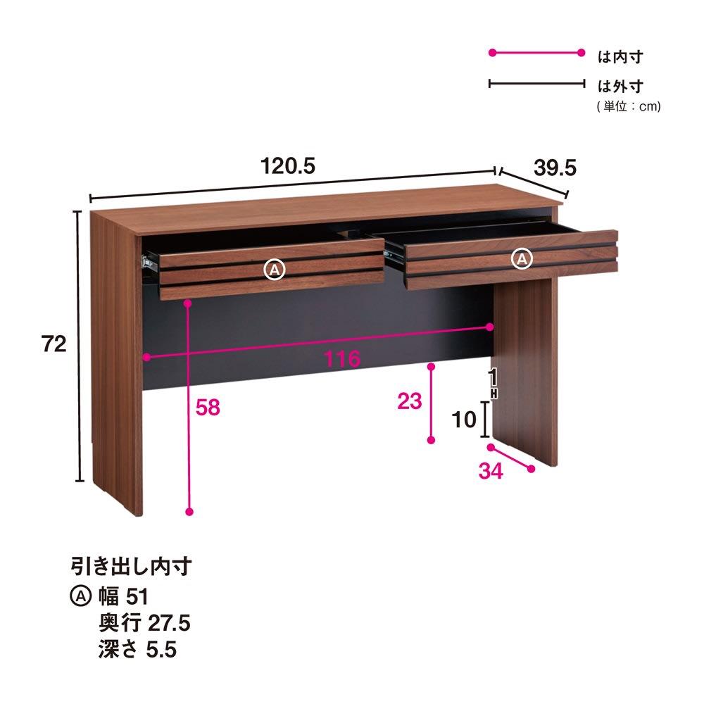 Alus Style/アルススタイル コンパクトホームオフィス デスク 幅120.5cm 大きな引出2杯付きで収納力もたっぷり。