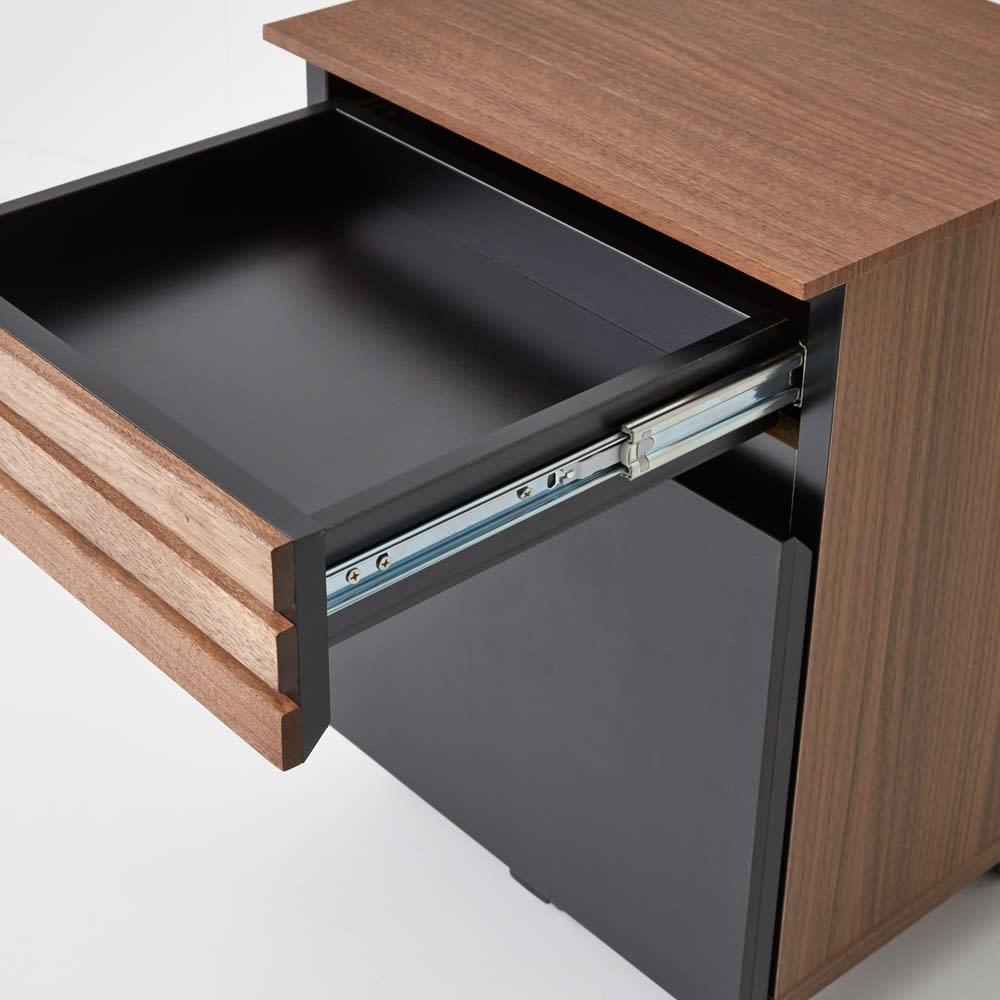 Alus Style/アルススタイル コンパクトホームオフィス サイドワゴン 幅42.5cm 引出には、開閉滑らかなフルスライドレールを使用しています。