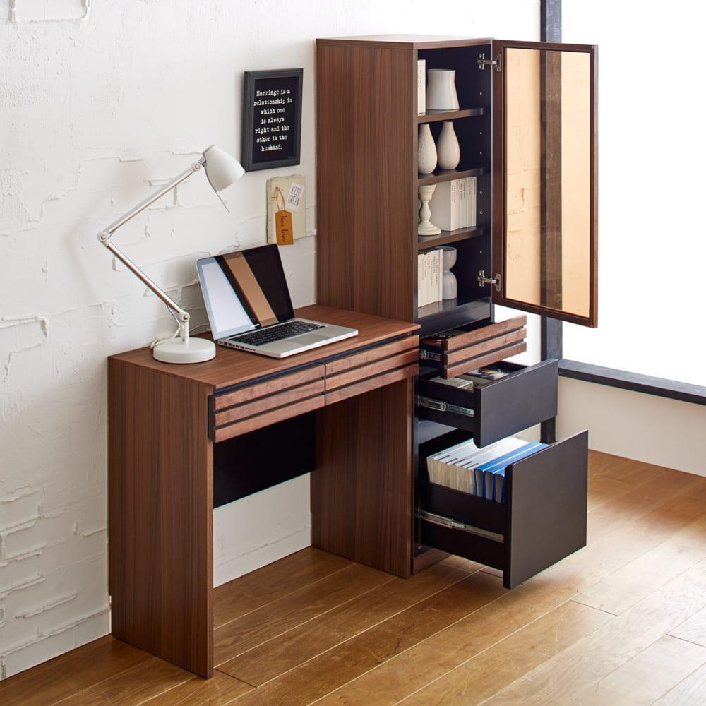 Alus Style/アルススタイル コンパクトホームオフィス ブックシェルフ幅40.5cm [コーディネート例] たっぷり収納キャビネットと合わせて、本格的な書斎として。