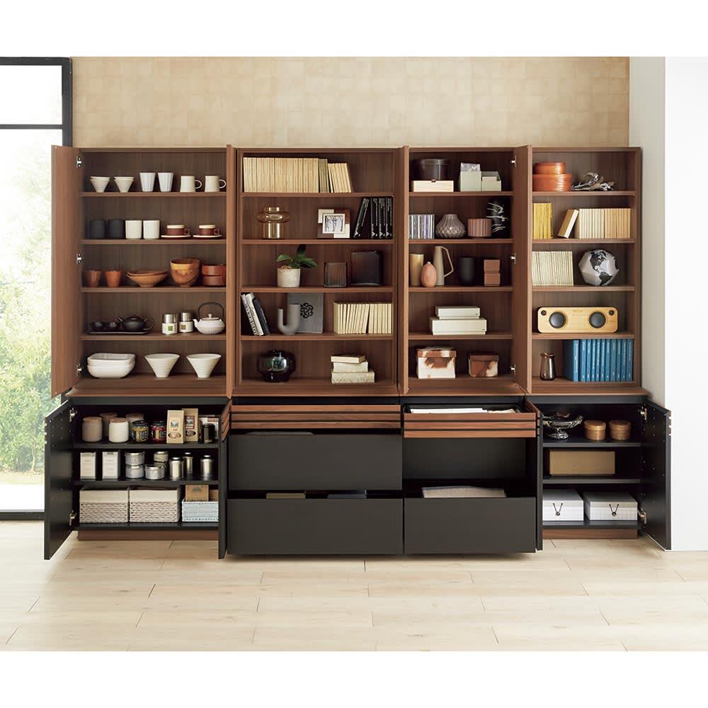 AlusStyle/アルススタイル シェルフシリーズ 上台:扉&下台:扉 幅60cm高さ192cm 引き出し・扉収納・オープン棚の組み合わせで、仕舞いたいものに合わせて効率的な収納スペースを作ることができます。