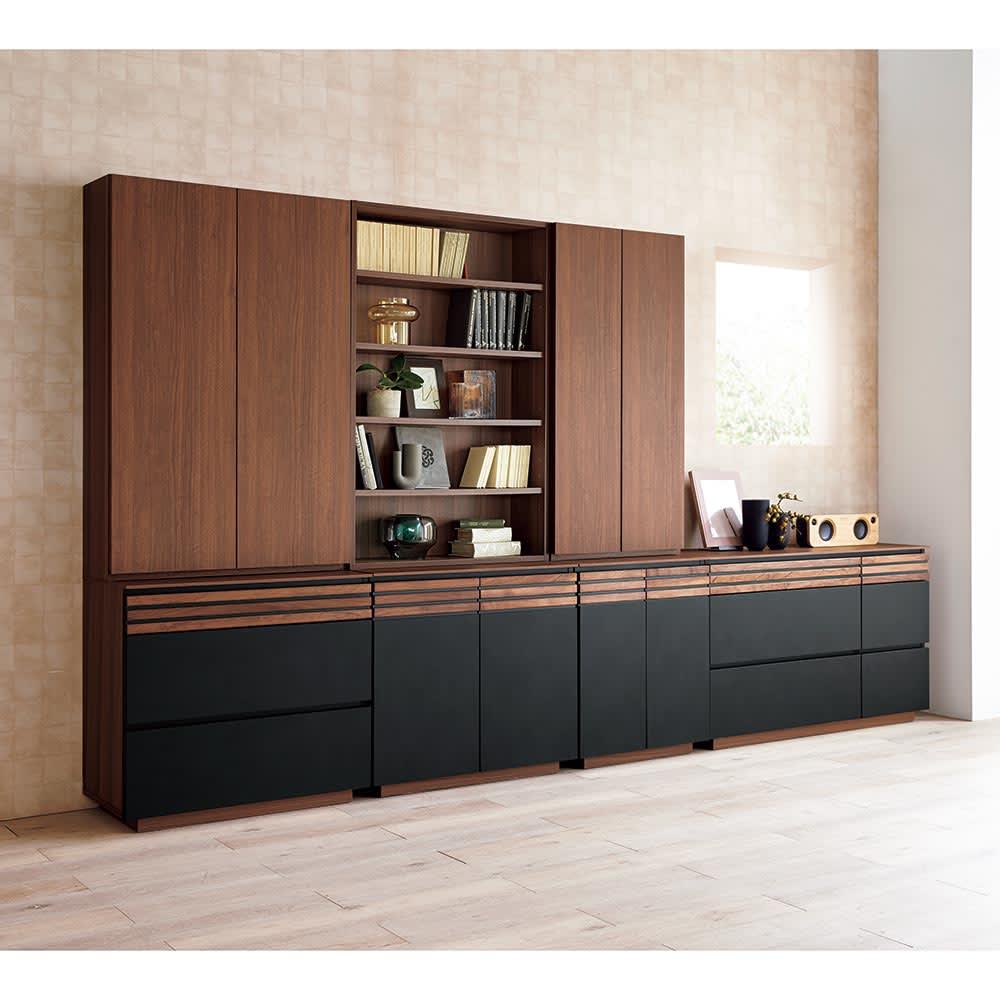 AlusStyle/アルススタイル シェルフシリーズ 上台:オープン&下台:扉 幅80cm高さ192cm たっぷりとした収納力とシックでラグジュアリーなビジュアルを両立。書斎やリビングの主役にふさわしい佇まいです。