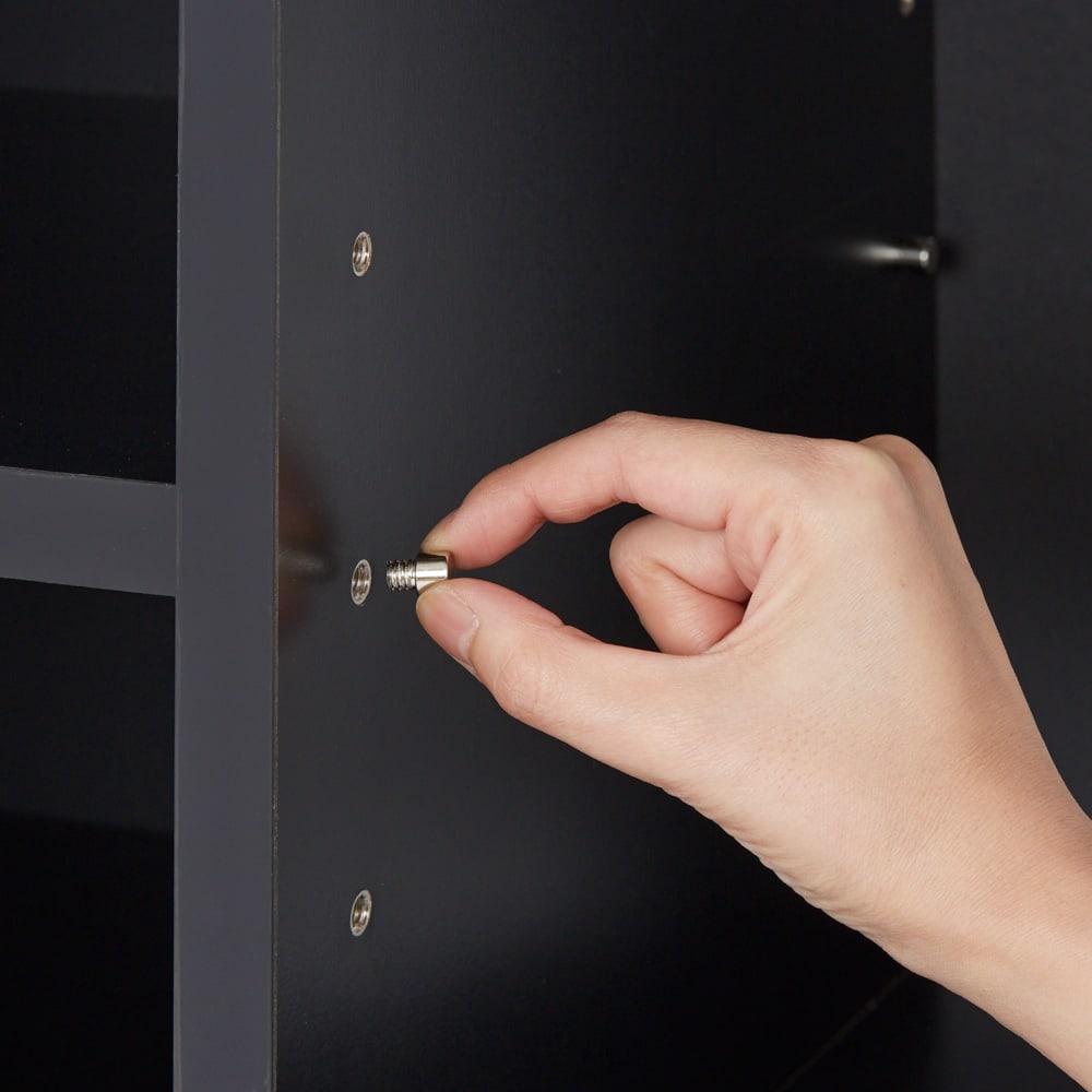 AlusStyle/アルススタイル シェルフシリーズ 上台:オープン&下台:扉 幅80cm高さ192cm 6cmピッチで高さ調整出来る可動棚で、収納物に合わせて無駄なく空間を活用できます。