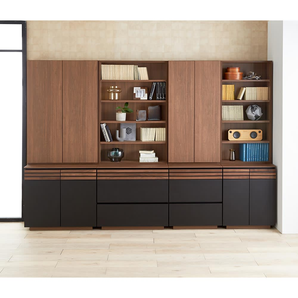 AlusStyle/アルススタイル シェルフシリーズ 上台:オープン&下台:引き出し 幅80cm高さ192cm オープン棚と扉タイプを組み合わせて、見せる収納と隠す収納の使い分けがおすすめです。