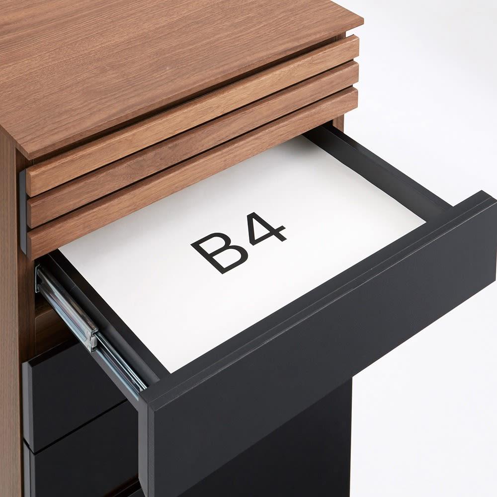 AlusStyle/アルススタイル ルーター収納書類チェスト B4タイプ高さ96cm こちらのタイプはBAサイズの紙がピッタリ収まるサイズの引き出しです。お子様のお絵かき道具や、B5サイズのプリントの収納にも。