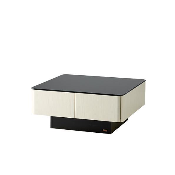 収納付きガラス天板リビングテーブル 80cm×80cm[国産] 80cm×80cm (ア)オークホワイト 斜め