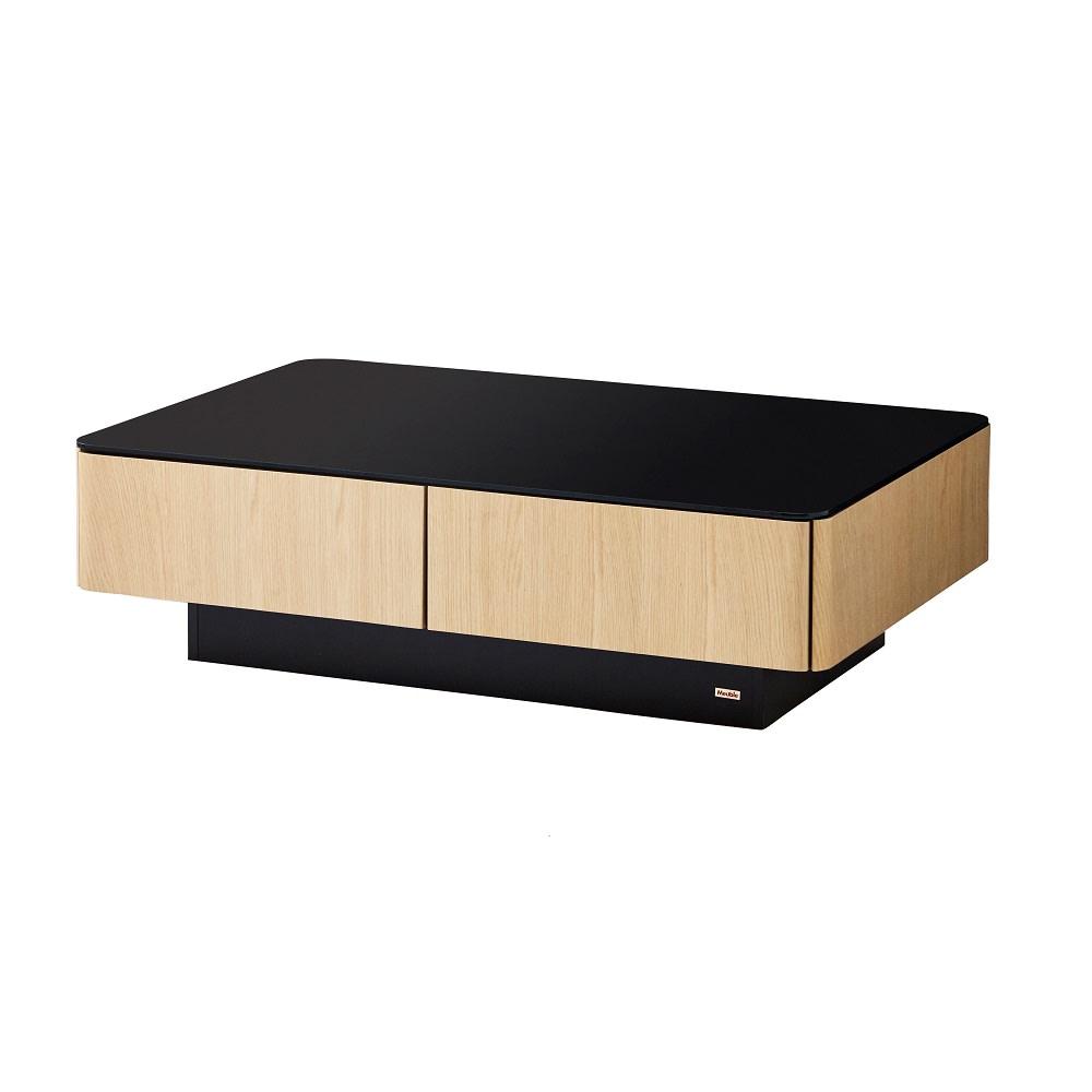 収納付きガラス天板リビングテーブル120cm×80cm[国産] 120cm×80cm (イ)オークナチュラル