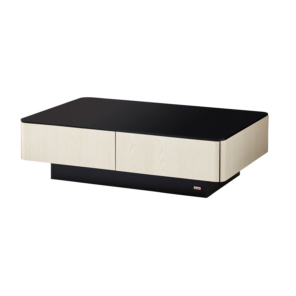 収納付きガラス天板リビングテーブル120cm×80cm[国産] 120cm×80cm (ア)オークホワイト