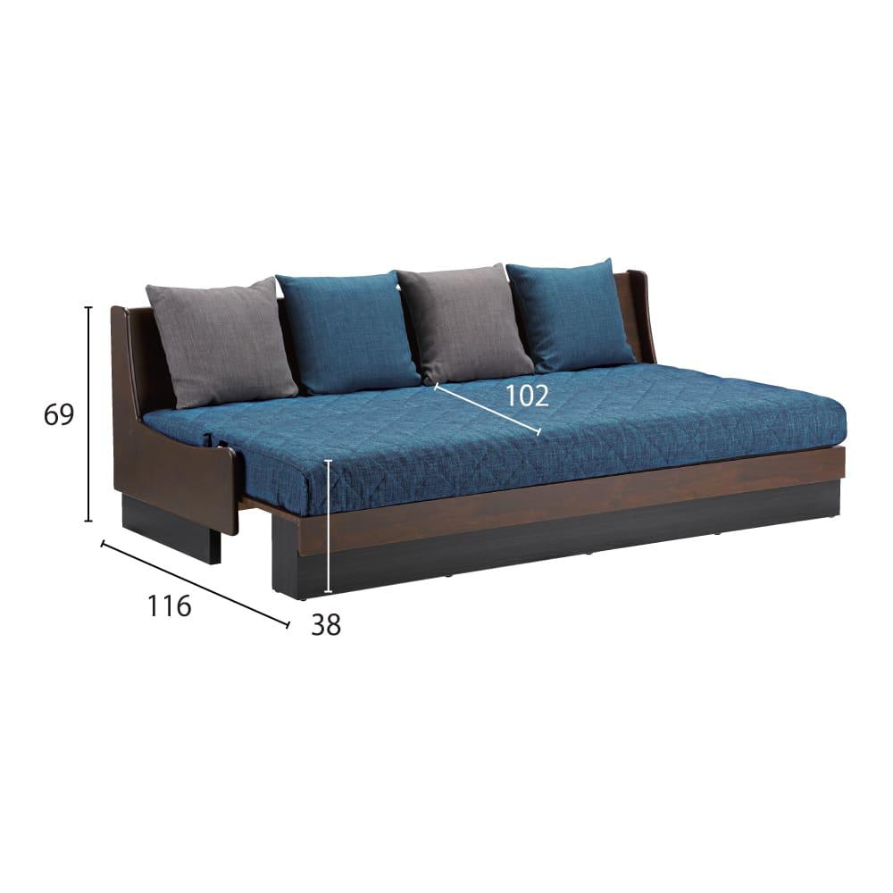Licol/リコル ソファベッド 幅200 [国産] (ウ)ブラウン×ブルー ベッド時 外寸図