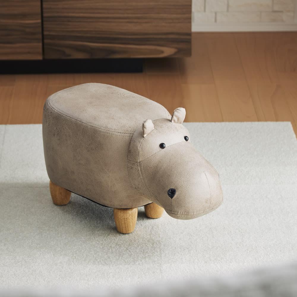 子カバのスツール (イ)ベージュ