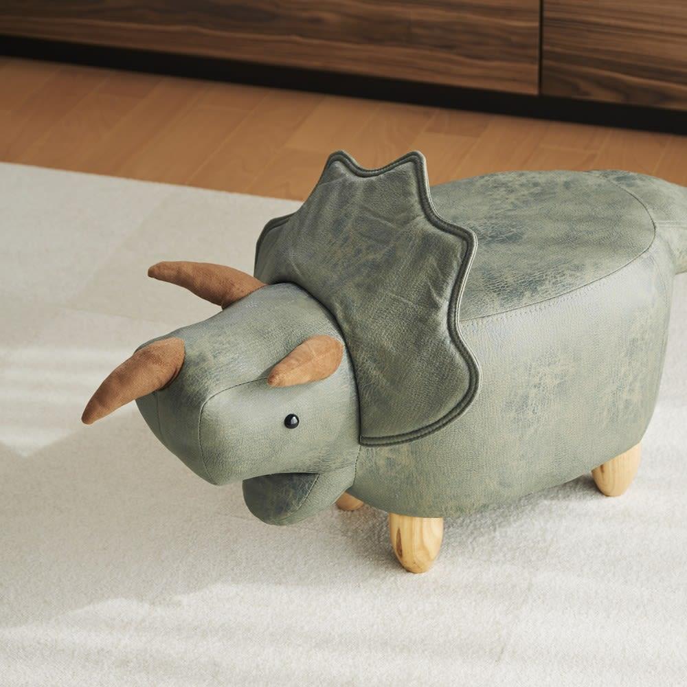 トリケラトプスのスツール (ウ)グリーン