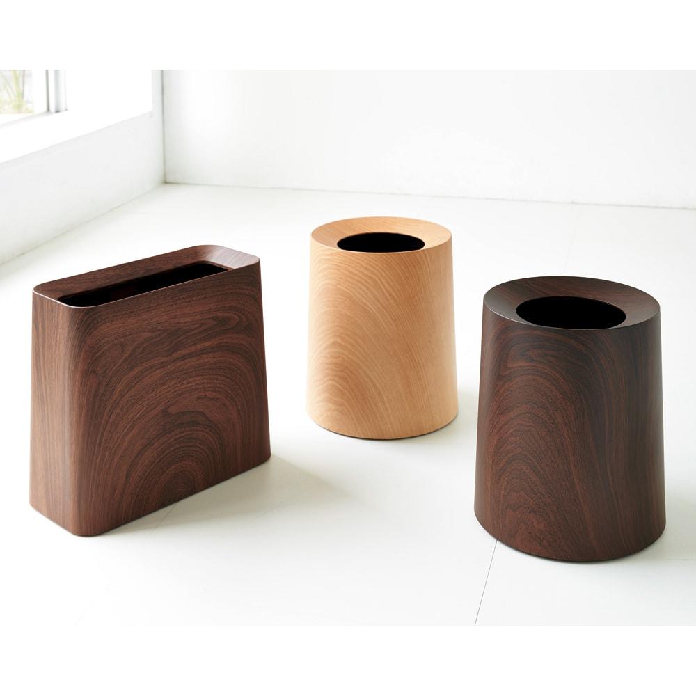 ideaco/イデアコ チューブラー ダストボックス チューブラーオム(ウッド調) 左側ハイグランデタイプ・お届けは右側の2色円筒状のものとなります。