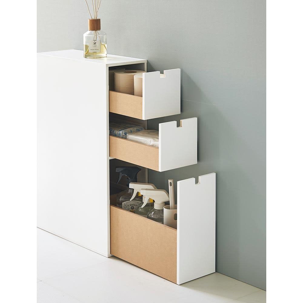 スリム 引き出し トイレ収納庫 3段 それぞれの段に分類して収納できるので衛生的です。