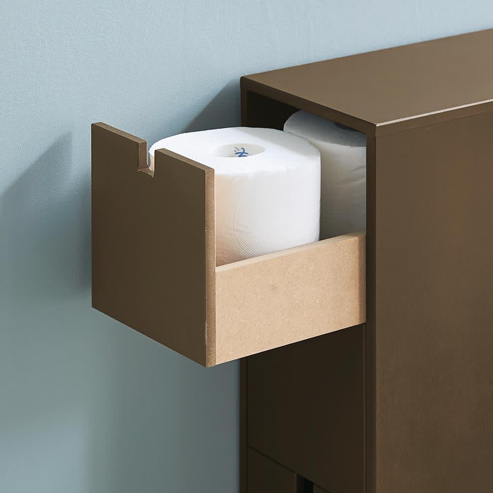 スリム 引き出し トイレ収納庫 3段 浅引き出しには、1段あたりトイレットペーパー約4個入ります。