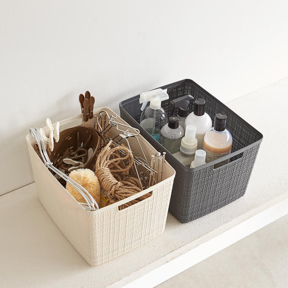 CURVER JUTE/カーバージュート バスケットワゴン バスケット3段 収納例:洗剤や掃除用具、バス用品のストック収納に (※お届け商品のバスケットは同色です)