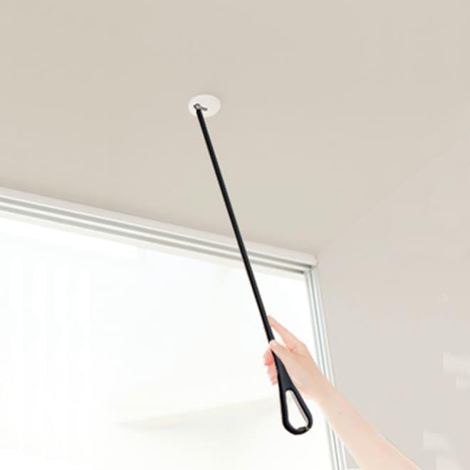 nasta/ナスタ 室内物干し 天吊りタイプAir Hoop(1本) (ウ)ブラック×グレー スライドするだけで簡単に取り外せます。