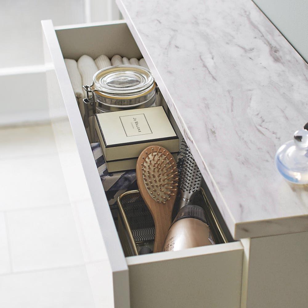 Marblenome/マーブルノーム 薄型サニタリーストッカー 幅60cm 引き出し+扉 歯ブラシなどの洗面台周りの小物ストックは引き出しへ。