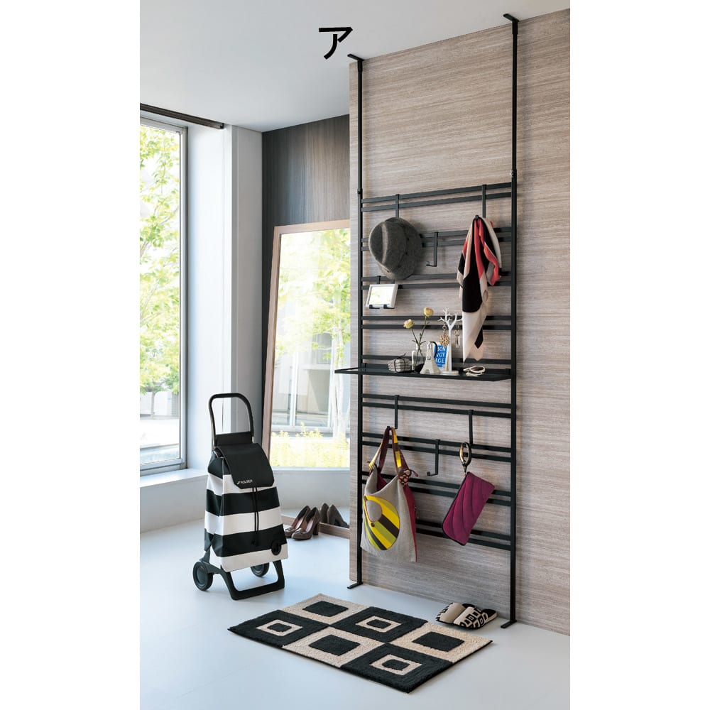 ダブルラダーパーテーション 幅55cm用 追加棚板1枚 フック2個 [色見本]ブラック 幅55cmタイプに対応します。お届けはフックと棚板のみです。