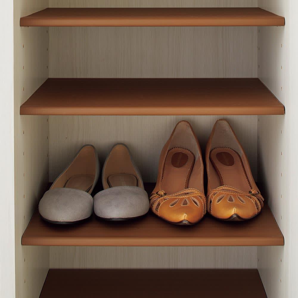 Donner/ドンナー スリムシューズボックス・靴箱 幅40cm奥行37cm高さ80cm 内寸35.5cmで棚板一枚に女性物のパンプスが2足収納できます。高さ80cmでは10足、高さ120cmでは16足ほど。男女物ともに収納可能です。