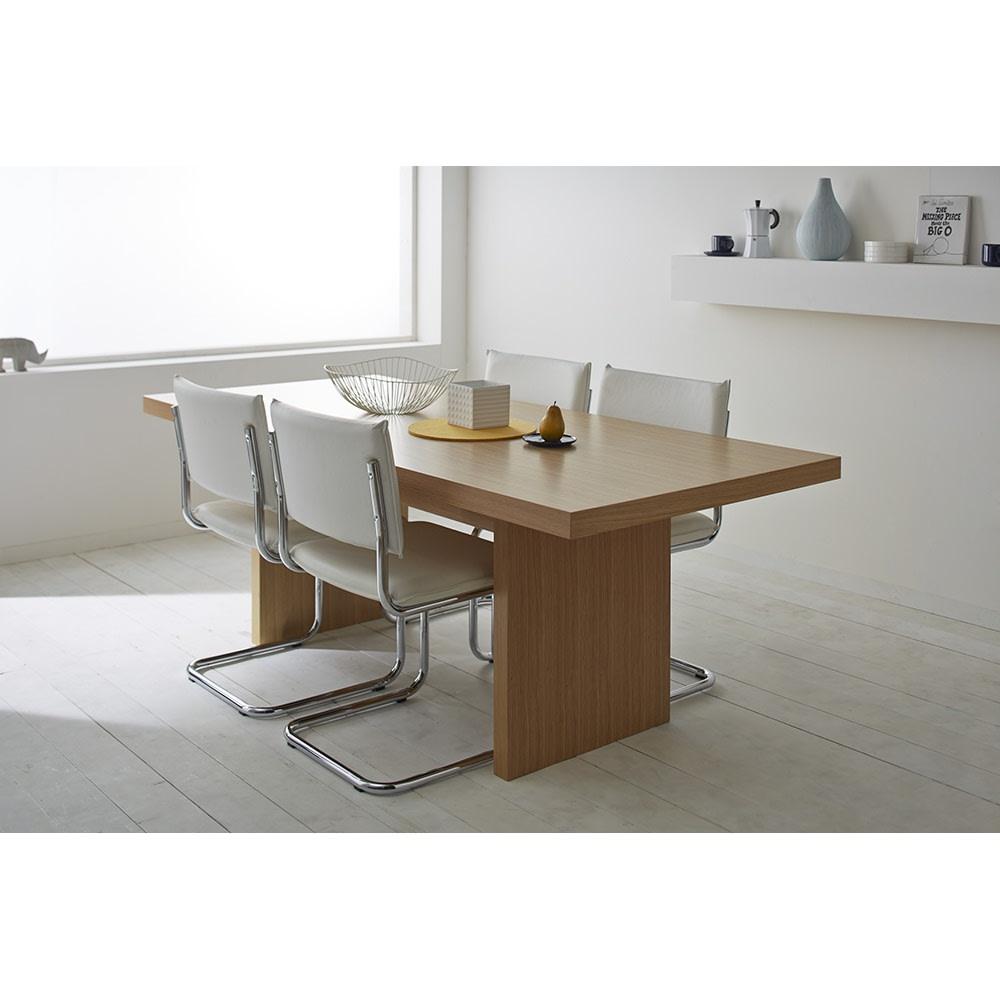 Multi マルチダイニングテーブル パネルレッグタイプ 幅200cm 幅50cmのチェアが、片側に2脚ずつ収納されているイメージです。