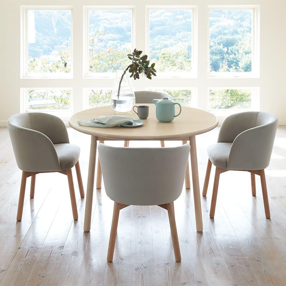 Ridge/リッジ ダイニングセット 天然木丸テーブル5点セット テーブル直径110cm (イ)ライトグレー 5点セット